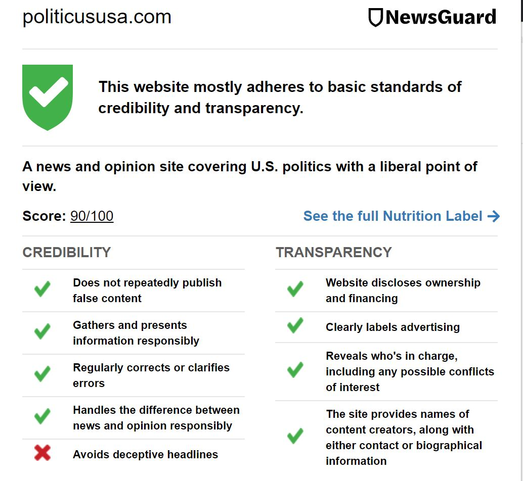 PoliticusUSA Newsguard label